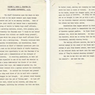 Unpublished Draft From Winston Churchill's Memoir, ''The Second World