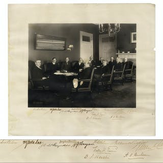 Woodrow Wilson Cabinet Photo, Signed by All 11 Men Including Wilson