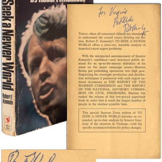 Robert F. Kennedy Signed Copy of His Book ''To Seek a Newer World''