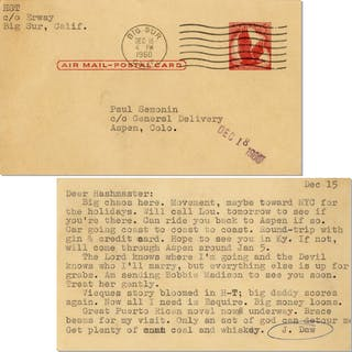 """Hunter S. Thompson Typed Postcard -- """"…The Lord knows where I""""m going"""