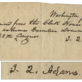 John Quincy Adams Note Signed Related to the 28th Congress
