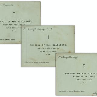 Lot of Three Admission Tickets to the Funeral of Catherine Gladstone