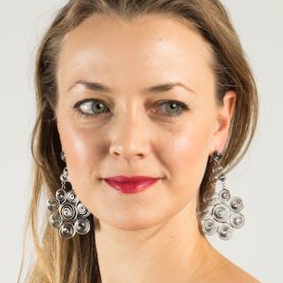"""Silver spiral """"paw"""" earrings by Liisa Vitali"""