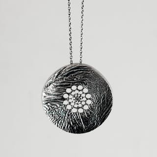 Blackened silver pendant by Liisa Vitali