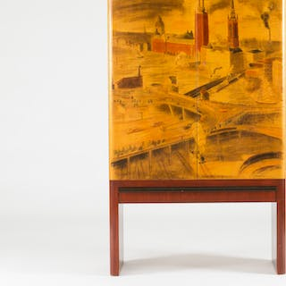 Cabinet by Gustaf Axel Berg with artwork by Isaac Grünewald