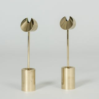 Pair of brass candlesticks by Pierre Forssell