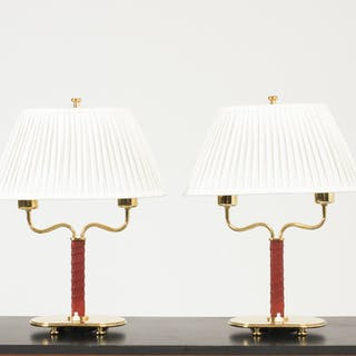 Pair of brass and wreathed leather table lamps by Josef Frank