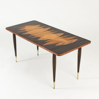 Vintage coffee table with inlays from Bröderna Miller