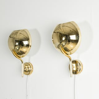 Pair of perforated brass wall sconces