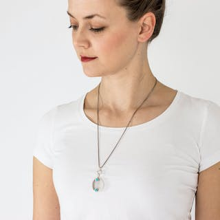 Silver and turquoise necklace by Elis Kauppi