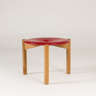 Red leather stool by Uno & Östen Kristiansson