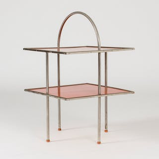 Red lacquered functionalist side table