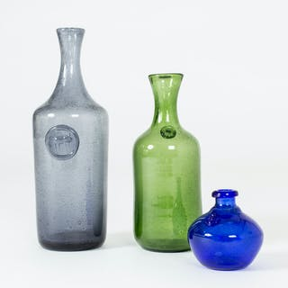 Set of three glass vases by Erik Höglund