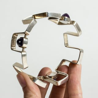 Silver and amethyst bracelet by Bent Knudsen