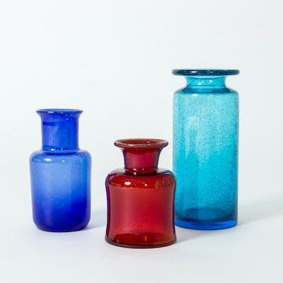Set of three glass vases by Erik Höglund