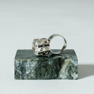 Silver and rock crystal ring by Arvo Saarela