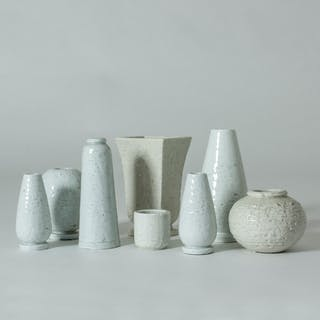Set of eight vases by Gunnar Nylund