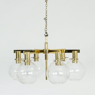 Brass and glass chandelier by Hans-Agne Jakobsson