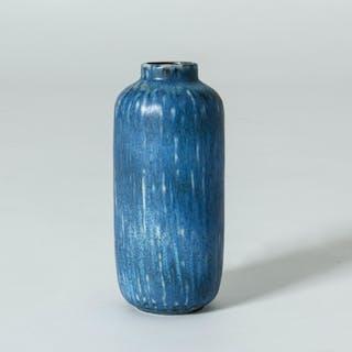 Blue stoneware vase by Gunnar Nylund