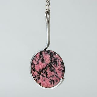 Silver and rhodonite pendant by Jens Asby