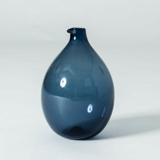 Blue glass vase by Timo Sarpaneva