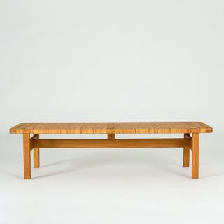 Oak and rattan bench by Børge Mogensen