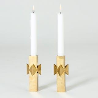 "Pair of ""Rosett"" candlesticks by Pierre Forssell"