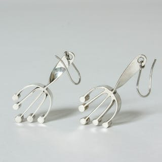 Silver earrings by Sigurd Persson