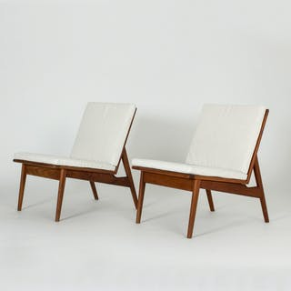 Pair of Danish 1950s teak lounge chairs