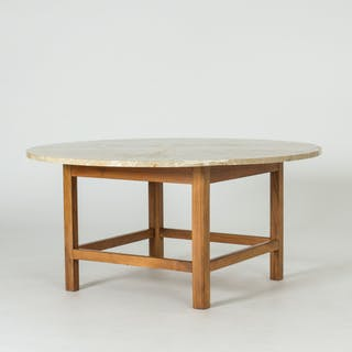 Marble and mahogany coffee table by Josef Frank