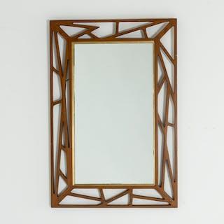 Graphic teak mirror from Eden Spegel