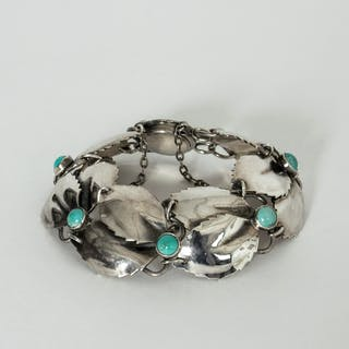 Silver and turquoise bracelet by Gertrud Engel