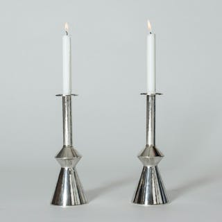 Pair of silver candlesticks by Sigurd Persson