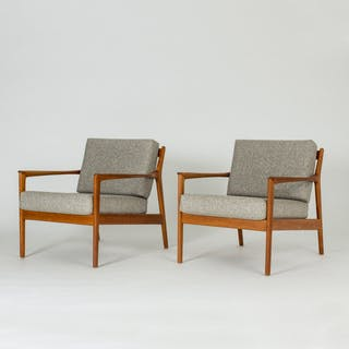 """Pair of """"USA 75"""" lounge chairs by Folke Ohlsson"""
