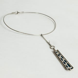 Silver and enamel neckring by Ibe Dahlquist
