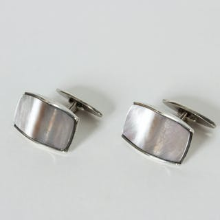 Pair of silver and mother of pearl cufflinks