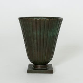 Patinated bronze vase from GAB