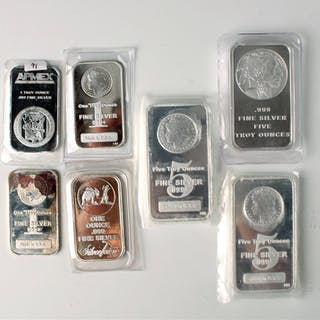 7 ASSORTED SILVER BARS