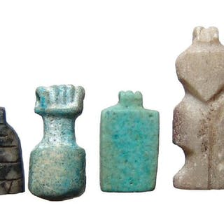 A group of 4 stone and faience Egyptian amulets