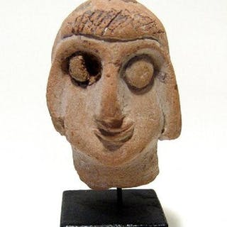 Very rare Egyptian Coptic terracotta head of a youth
