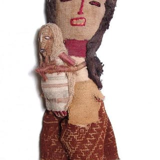 A cute Chancay textile doll - mother with child
