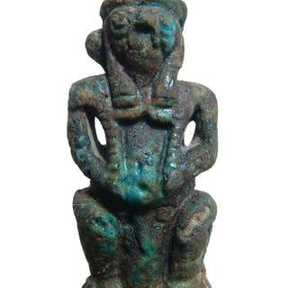 An Egyptian faience combination amulet of Pataikos