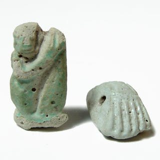 A pair of Egyptian faience objects