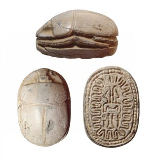 A large Egyptian steatite scarab