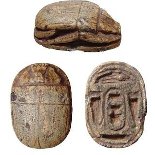 A large Egyptian steatite scarab, Thutmose III