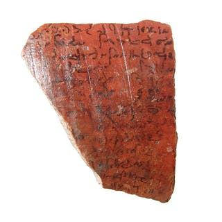 Egyptian pottery ostraca fragment with Demotic script