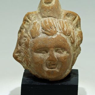 A beautifully detailed Roman-Egyptian terracotta head