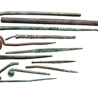 A group of 11 Roman bronze tools and implements