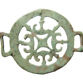 A lovely Roman bronze strap ornament