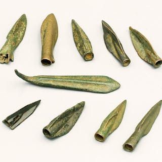 A group of ancient bronze arrowheads